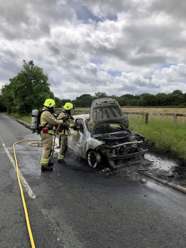 The car fire near Wantage. Picture: Oxfordshire County Council Fire and Rescue