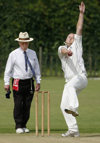 Horspath seamer Will Eason in action during their victory over Oxford Downs