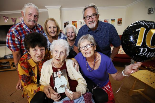 Edith Jones celebrates her 100th birthday with family and friends at The Meadows Care home yesterday. 	                Picture: Ed Nix