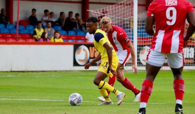 Malachi Napa in action for Oxford United at Brackley Town  Picture: Jack Brown/Instagram @jb_photo_