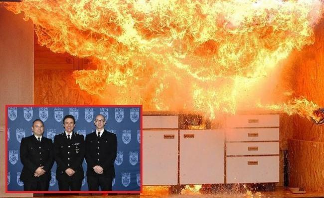 Stock kitchen fire image. inset of PC Matthew Agar (left) and PC Caleb Smith (right) – with Chief Constable Francis Habgood in the centre.
