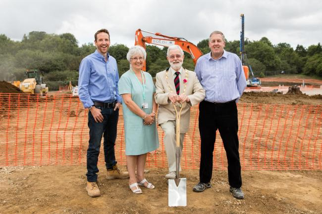Building is getting underway on a new hotel in Faringdon. (L-R): Alex Petheram, MD Soldi; Councillor Judith Heathcoat; Mayor Mike Wise; Paul Hill, Travelodge. Picture: Travelodge