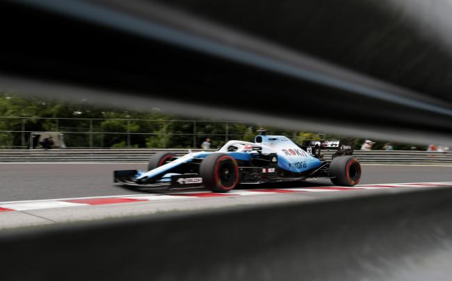 Williams driver George Russell in action during practice at the Hungarian Grand Prix Picture: AP Photo/Laszlo Balogh