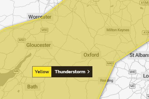 Herald Series: Yellow thunderstorm warning in place across Oxfordshire. Picture via Met Office