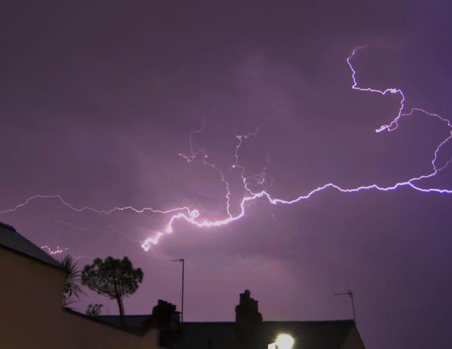 Camera Club member Tony Steele's image of a lightning bolt above Jericho last month