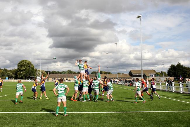 Oxford Harlequins contest a lineout during their first match at Horspath Sports Ground in September 2018
