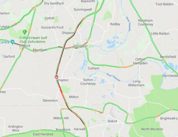 Herald Series: Traffic on the A34 around Milton at 8.03am via Google Maps