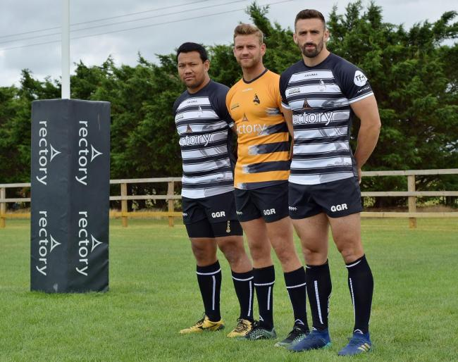 Chinnor launch their new kit. Pictured are (from left) Ofisa Treviranus, George Grose and Carl Kirwan. Picture: Aaron Bayliss.
