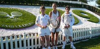 Giles Waterson and Sophie Marriott, who play at Abingdon's White Horse Leisure & Tennis Centre, and Sebastian Rey, the county's No 1 junior, from Wantage spent almost aeek playing on the grass courts of SW19