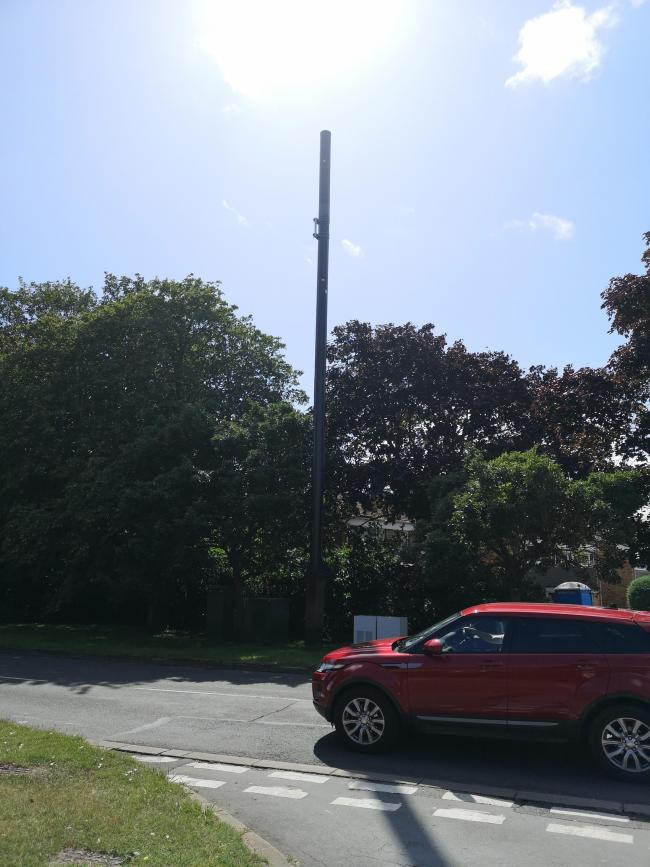 The mast in Radley Road earlier this month