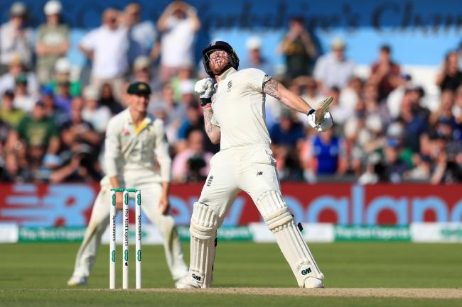 Ben Stokes celebrates the winning moment for England