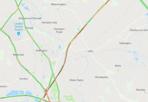 Herald Series: Traffic on the A34 southbound at 8.43am via Google Maps