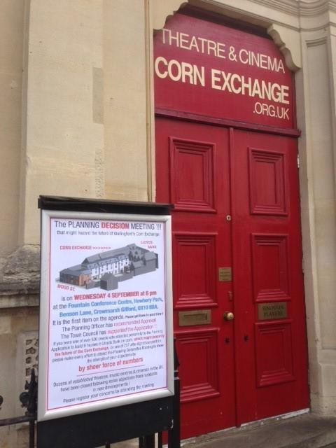 The Wallingford Corn Exchange with a sign outside telling the public to attend a crunch meeting. Picture: John Warburton