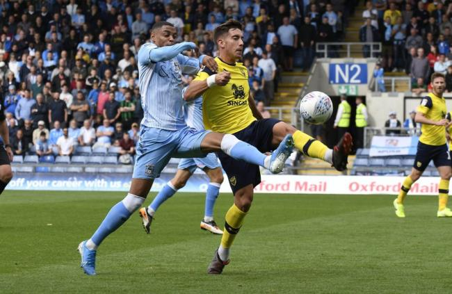 Alex Gorrin battles for the ball against Coventry City Picture: David Fleming
