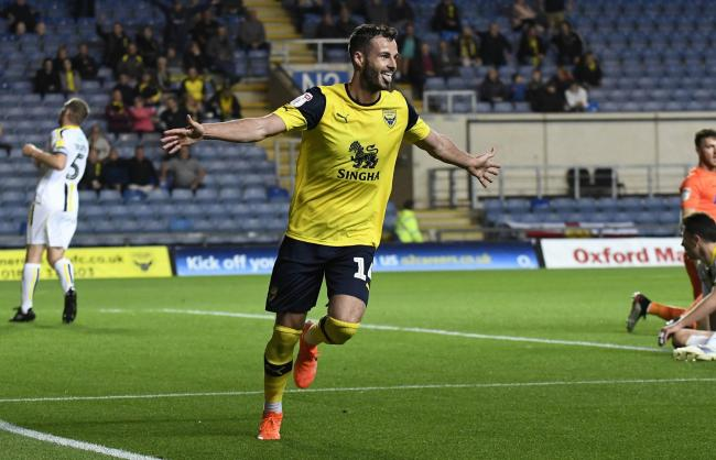 Anthony Forde celebrates scoring for Oxford United  Picture: David Fleming