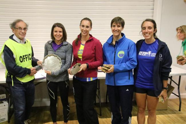 Diane Foster and her Headington RR clubmates are all smiles after winning the Mota-vation Series ladies team title Picture: Barry Cornelius