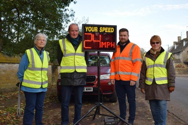 (L-R) Sue Ayers, Graham Knaggs, county councillor Liam Walker and Judith Knaggs check motorists' speed Picture: Liam Walker