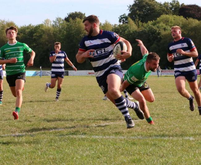 Jack Briggs scores one of Banbury's ten tries Picture: Simon Grieve