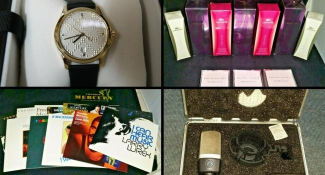 Clockwise top left: Gucci Watch, Set of 10 designer ladies perfumes, professional microphone, Freddie Mercury record collection - all sold on the TVP ebay page this week