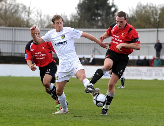 Jack Midson in action for Oxford United on their only visit to Hayes & Yeading United, in April 2010  Picture: David Fleming