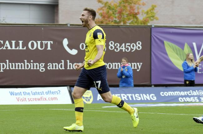 James Henry celebrates scoring for Oxford United Picture: David Fleming