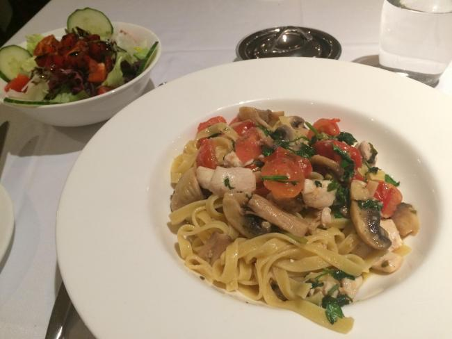 Tagliatelle and salad at La Fontana, with inset, creme brulee