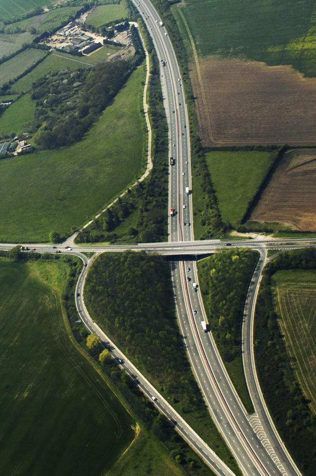 Aerial photographs of the Lodge Hill interchange on the A34 at Abingdon, looking South. At present, the interchange only has two slip roads – a southbound slip road into Abingdon and a northbound one onto the A34. Pic: Damian Halliwell