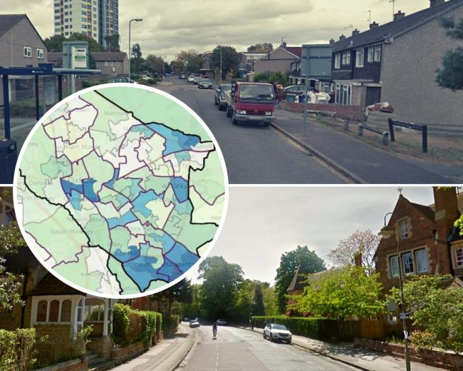 Above: An area of Northfield Brook in the most deprived part of Oxford, below, an area of North Oxford, one of the wealthiest parts. Inset: Oxford City Council map of deprivation (pics: Google Maps/ city council)