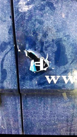A pic of a van that has been slashed by thieves from Thames Valley Police alert.