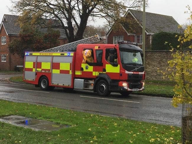 Pudsey becomes a firefighter for the day
