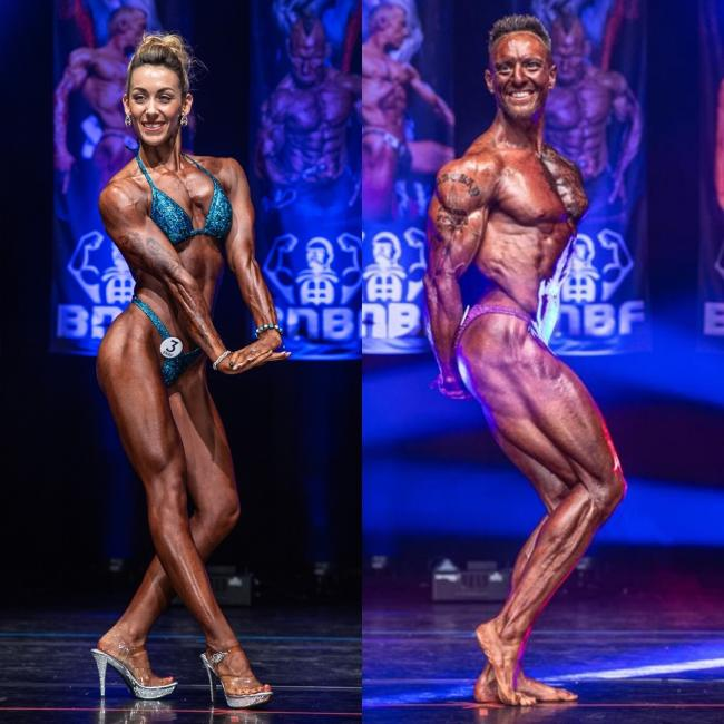 Beckie and Calum competing at the British Natural Bodybuilding Federation Finals (BNBF) 2019 Picture: BNBF