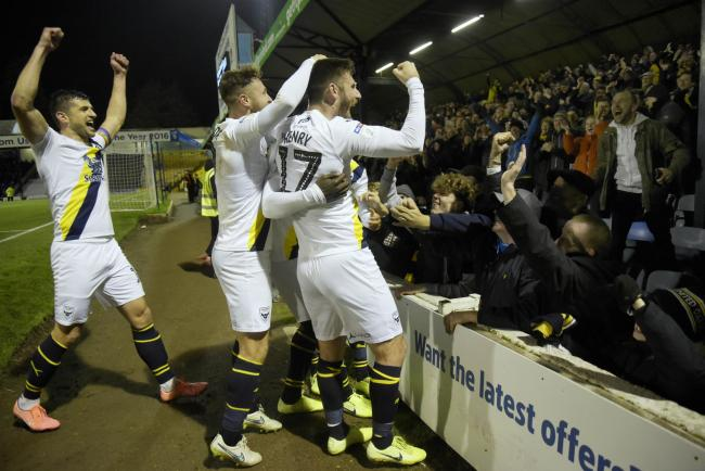 Oxford United players celebrate their win at Southend United Picture: David Fleming