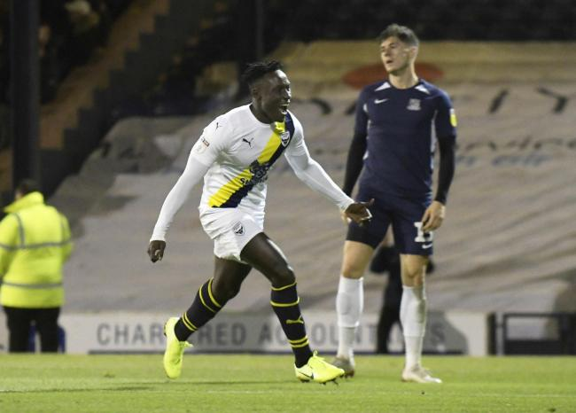 Dan Agyei celebrates his first Oxford United goal in the win at SouthendPicture: David Fleming