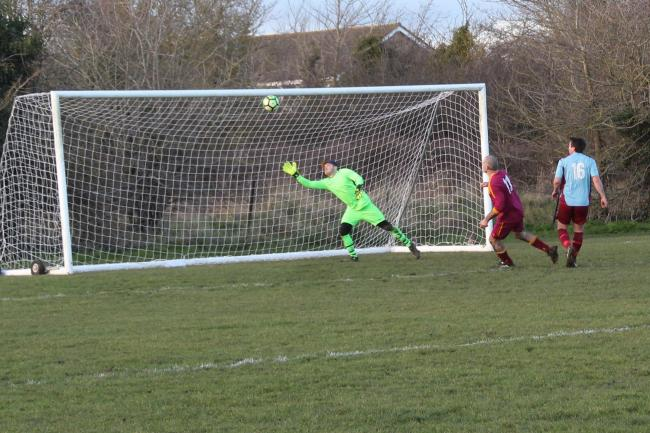Tim Barton opens the scoring with a looping effort for Long Wittenham Res against Grove