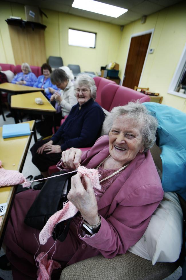 Grove Day Centre for the Elderly - pictured here is Dot Halliday doing some knitting.  Picture by Ed Nix
