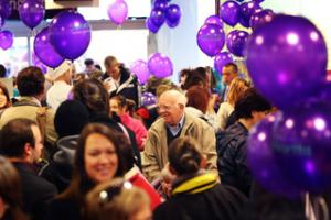 Crowds gather at the new store in Didcot
