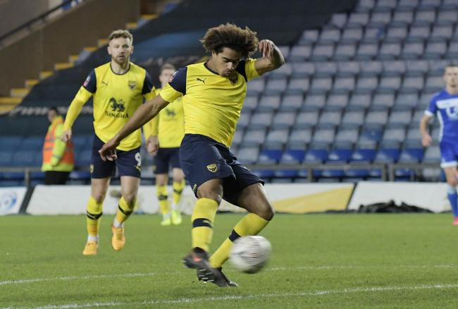 Fabio Lopes, who has made four appearances for Oxford United's first team this season, came close to scoring in the first half   Picture: David Fleming