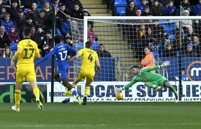 Ivan Toney beats Simon Eastwood in Peterborough's draw with Oxford United in 2018 Picture: David Fleming
