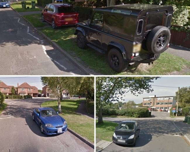 Love Lane parking, on bends and next to zigzags, on Google Maps
