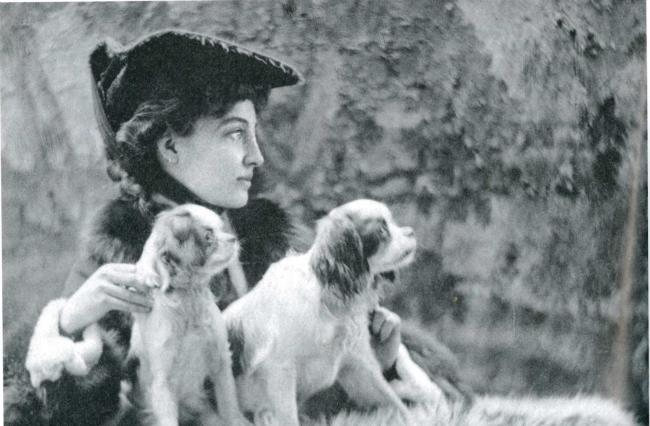 Gladys Deacon with her dogs. There was trouble at Blenheim when she turned apartments into kennels