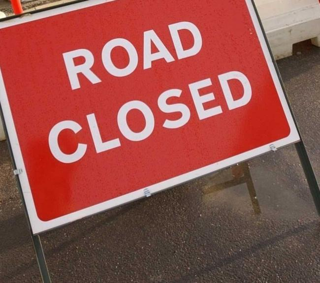 Road closed sign. File Image.
