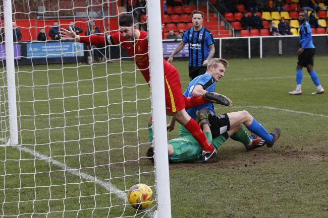 Ricky Johnson scores Banbury United's second against Stourbridge Picture: Ed Nix