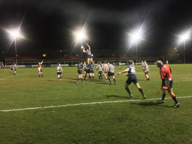 Chinnor Falcons and Oxford University Greyhounds contest a line-out during their Oxfordshire Cup semi-final Picture: James Roberts