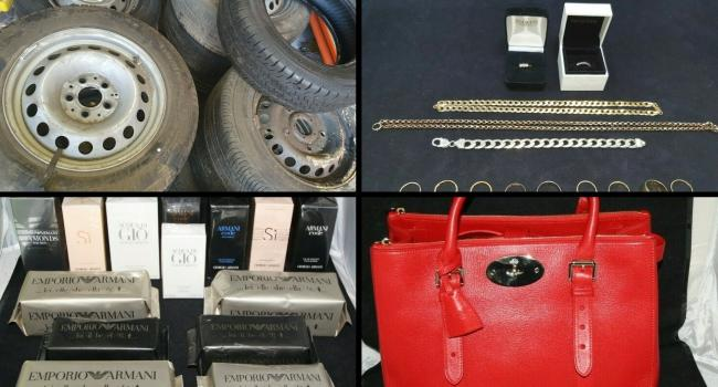 The most expensive lots sold on the Thames Valley Police eBay page this year include (top left clockwise): a bundle of 25 tyres and wheels, chains and jewellery, a red Mulberry bag and 14 desginer fragrances. Pic from TVP eBay
