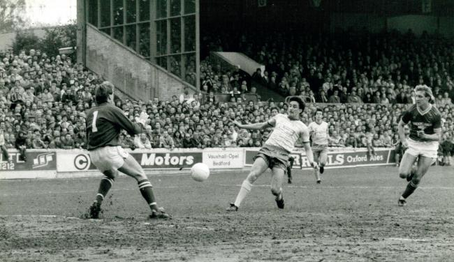 John Aldridge scores against Barnsley on May 11, where his double took him to 30 league goals for the 1984/85 season