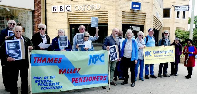 Protest outside BBC Oxford on TV licences