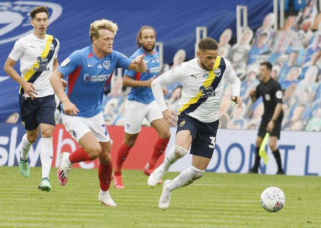 Marcus Browne on the charge during Oxford United's play-off first leg against Portsmouth on Friday   Picture: David Fleming