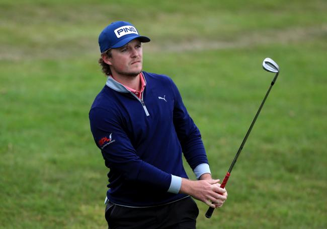 Eddie Pepperell watches his approach shot to the fourth hole at the Betfred British Masters   Picture: Mike Egerton/PA Wire