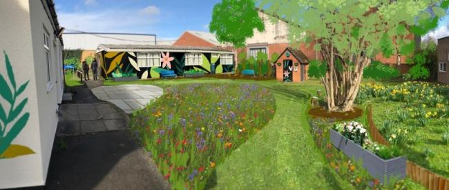 An artist's impression of how the new garden at Abingdon Community Hospital would look like