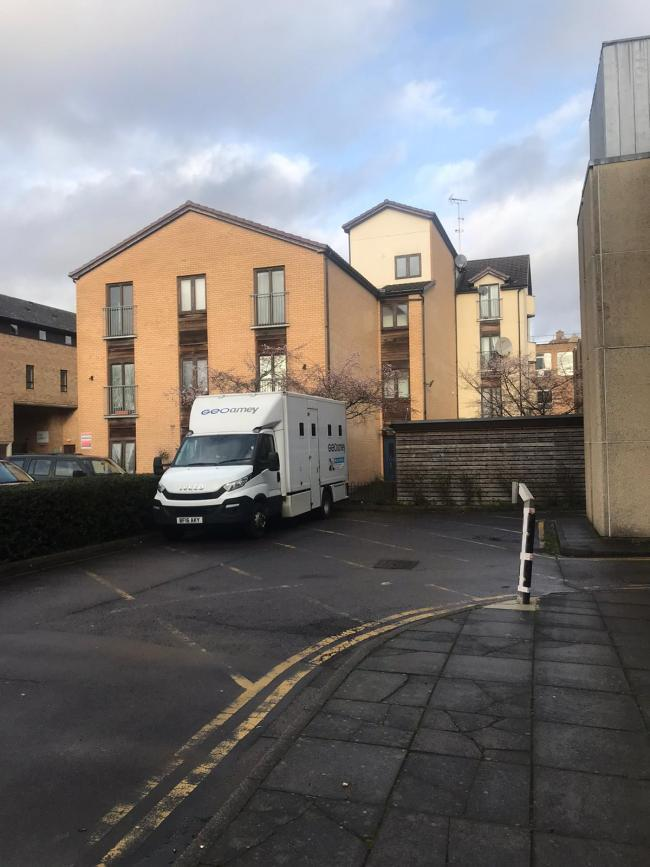 A prison van at the back of Oxford Magistrates Court. Pic by Fran Way